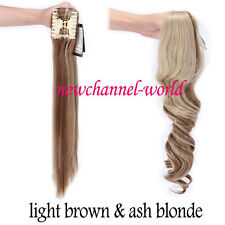 100%Natural Clip in hair extension Curly Straight Black Claw Ponytail hair piece