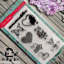 Nuevo conjunto de sello de goma transparente Hecho a Mano Tarjetas Scrapbook Mariposa Floral sello CS180