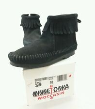 MINNETONKA MOCCASIN # 2289 Black Suede Fringed Ankle Boot Shoe Little Girls 10