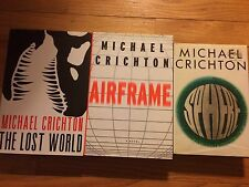 Set of 3-Michael Crighton books, Sphere, The Lost World and Airframe, Hardcover