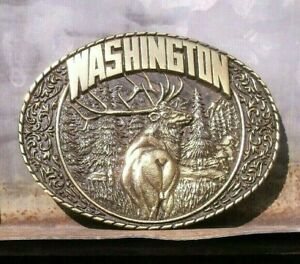 Vintage Brass Western ~ State of WASHINGTON ~ ELK in Nature Men's BELT BUCKLE