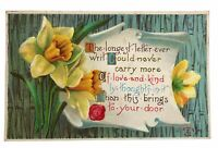Lovely Vintage Postcard Kind Thoughts Daffodils Posted 1911 Quincy Illinois