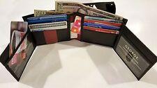 JUMBO WALLET RFID MEN'S GENUINE GEORGE BIFOLD 14 CARD SLOTS BLACK LEATHER