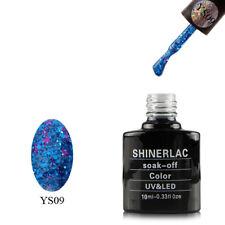 SP17 SHINERLAC SUPERSTAR BLUE GLITTER + PINK STARS NAIL GEL POLIsH LED UV