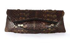 RODO Brown & Metallic Gold Python Skin Flap Clutch Bag
