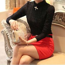 Sexy Fashion Women Long Sleeve Shirt Casual Lace Blouse Loose Cotton Top T Shirt