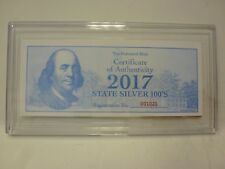 2017 1oz .999 State Silver Proof Ben Franklin $100 BILL- Art Bar-Texas & COA