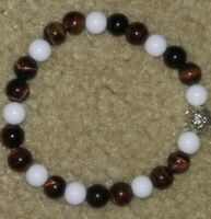Handmade Natural Gemstone Round Beads Stretch Bracelet Bangle 7""