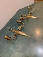 Pair Antique Vintage Solid Brass Double Arm Candle Wall Sconces Made in England
