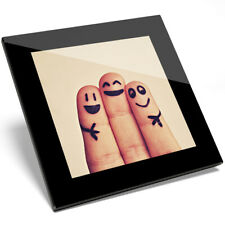 1 x Funny Finger Face Friends Glass Coaster - Kitchen Student Quality Gift #8317