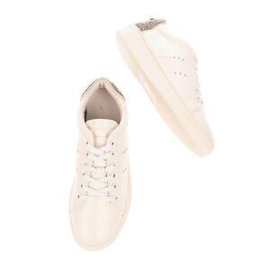 RRP €200 LOLA CRUZ Leather Sneakers EU 39 UK 6 US 9 Rhinestone Counter Lace Up