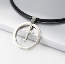 Silver Chrome Cross Stainless Steel Pendant Black Leather Necklace