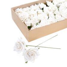 Pack of 6 Artificial Wired Velvet Rose - Cream Roses
