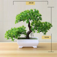 Artificial Bonsai Potted Plant Mini Pine Tree Guest Greeting Home Office Decor