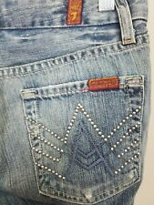 Seven 7 For All Mankind A Pocket Style Bootcut Juniors Jeans size W24 L30 Studs