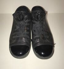CHANEL BLACK LEATHER PATENT TOE LACE UP SNEAKERS SIZE 39 GREAT CONDITION
