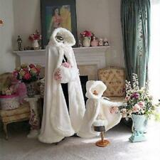 Warm Girl Winter Wedding Cloak Cape Hooded with Fur Trim Long Bridal Winter