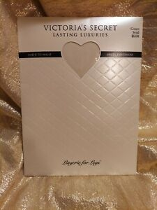 NIP Victoria's Secret Size SMALL Lasting Luxuries Cream Pantyhose Sheer to Waist