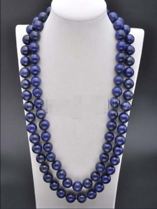 Handmade 12mm Natural Blue Lapis Lazuli Round Gemstone Beads Necklace 22-100''