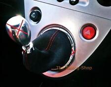 Per Honda Civic Type R EP3 01-05 Cuffia Leva Cambio Suede Nero Cuciture Rosso