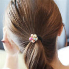 2X Rhinestone Flower Rubber Headband Female Ponytail Headwear Elastic Hairband B