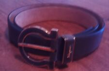 SALVATORE FERRAGAMO BUCKLE GRAY GOLD  LOGO LEATHER BELT