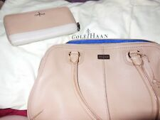 Cole Haan Village Double Zip Satchel &  Zip Wallet Sandstone **EUC**