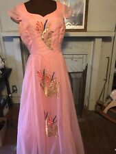 Vintage 1950's Couture Ball Gown Prom Evening  Dress Hand See Sequins By Velma