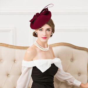Womens 1950s Vintage Style Felt Saucer Headpiece Fascinator Cocktail Hat A570