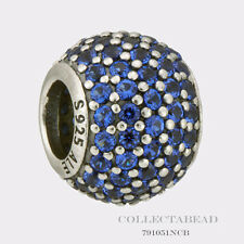 Authentic Pandora Sterling Silver Blue Pave Lights CZ Bead 791051NCB