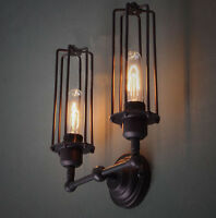RARE Special Vintage Double Cage Industrial Edison wall Lamp w/ bulb tube light