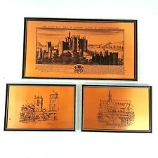 Vintage Coppercraft Etched Copper Three Pictures of Northumberland Framed