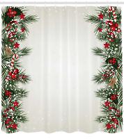 Noel Theme Pattern Shower Curtain Fabric Decor Set with Hooks 4 Sizes