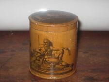 CHARMING ANTIQUE WOODEN RIBBON BOX PRINTED ROMAN / GREEK SCENES