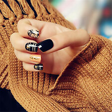 24PC JAPANESE Style False Nail Tips with Glue Acrylic Fake Nails Set Multi-color