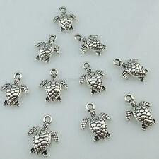Mini Animal Cute Sea Turtle Pendant 14655 40Pcs Alloy Antique Silver Vintage