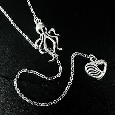 Silver Octopus & Heart Lariat Y Drop Necklace--Stainless Steel Chain