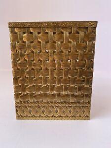 Vintage  filigree Metal Tissue Box Kleenex Holder Square Hollywood Regency Gold