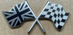 CLASSIC CAR UNION JACK CHEQUERED FLAG BLACK AND WHITE ENAMEL DECAL BADGE