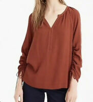 J. Crew Point Sur Drapey Open V Neck Long Sleeve Blouse size Small New With Tags