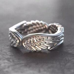 Vintage Angel Wing 925 Sterling Silver Adjustable Ring Womens Jewellery Gift UK