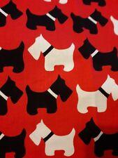 Robert Kaufman red white black Scottie dog Quilt Fabric 26 x 106 cm