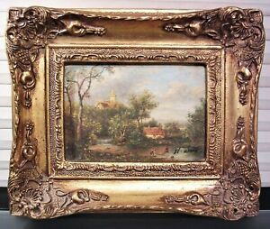 Early 20th C Cottage Landscape Oil Painting Signed H. Wood Gilt Frame