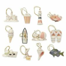 LENOX ~ Set of 12  SUMMER ORNAMENTS ~ NEW in BOX  Beach Fish Crab Shell -NO Tree