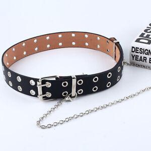 Women/Men Punk Leather Belt Rivet Eyelet Stud Double Grommet Holes Buckle Chain.