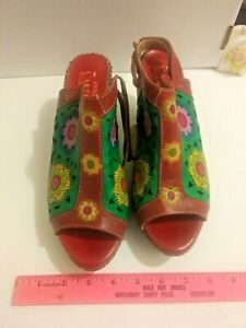 l'artiste spring step belen womens size 10 open toe hand painted leather