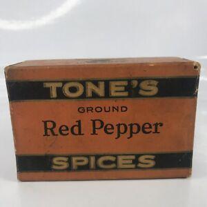 Tones Spices Box Ground Red Pepper Vtg Tone Bros Des Moines Full Sealed