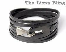 Urban Vintage style Genuine Black Leather Bracelet with Antiqued Hook Clasp
