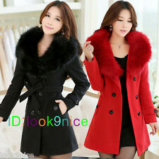 Women's Wool Faux Fur Trench Parka Double-Breasted Winter Coat Jacket