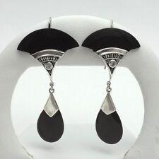 Deco Style Sterling Silver Onyx CZ Cubic Zirconia Fan Dangle Teardrop Earrings